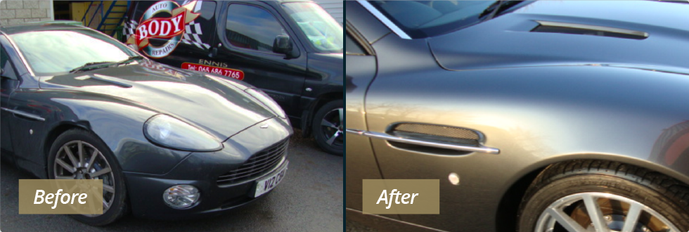 Crash repairs - before & after photograph